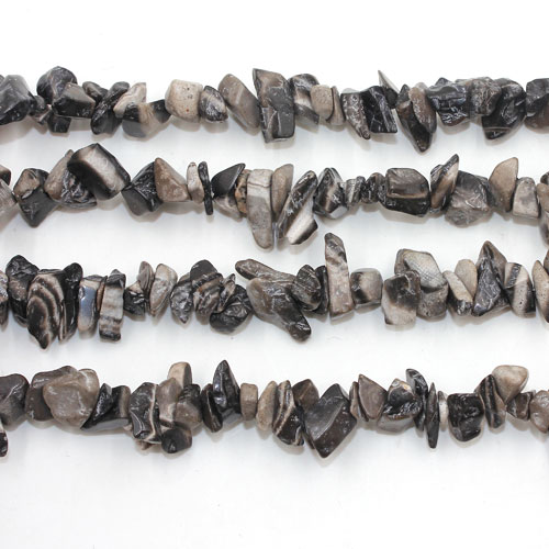Zebra-stone Gemstone Chips, 5mm-10mm, Hole:Approx 0.8mm, Length:Approx 30 Inch