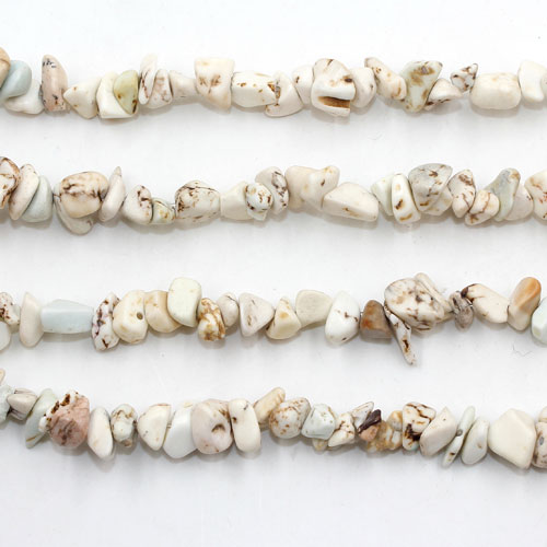 White Turquoise chip beads 2, 5mm to 10mm, Hole:1mm, Length:Approx 35 Inch