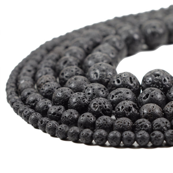 Natural Lava Beads, Round Black Volcanic Rock, 4mm 6mm 8mm 10mm 12mm 14mm 15.5 inch