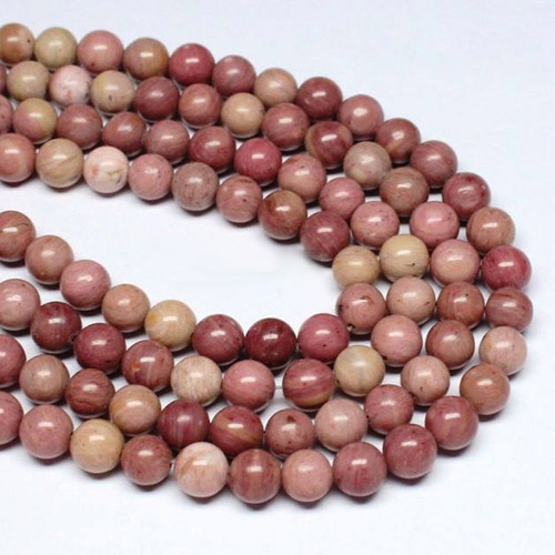 Rhodonite Beads round 6mm, 8mm, 10mm, 12mm, Natural pink beads Jewelry making, 15.5""