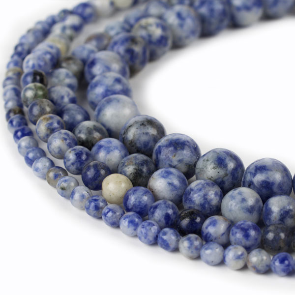 Natural Sodalite Blue Spot Stone Beads Genuine 4mm 6mm 8mm 10mm 12mm 15 Inch