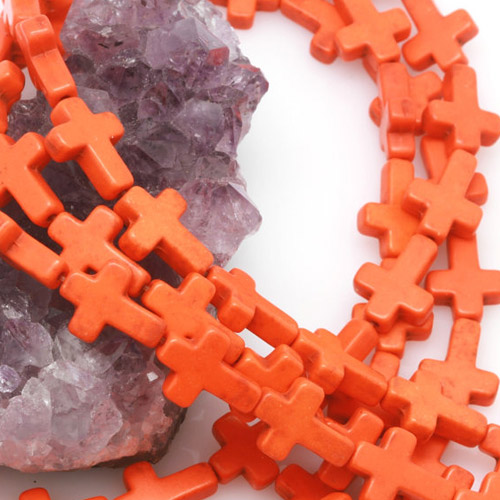 12x16mm Orange Howlite Turquoise Loose Spacer Beads Cross 15.5 inch strand