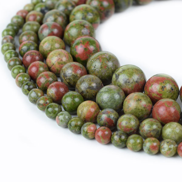 Natural Unakite Beads Round 4mm 6mm 8mm 10mm 12mm 14mm 15 Inch
