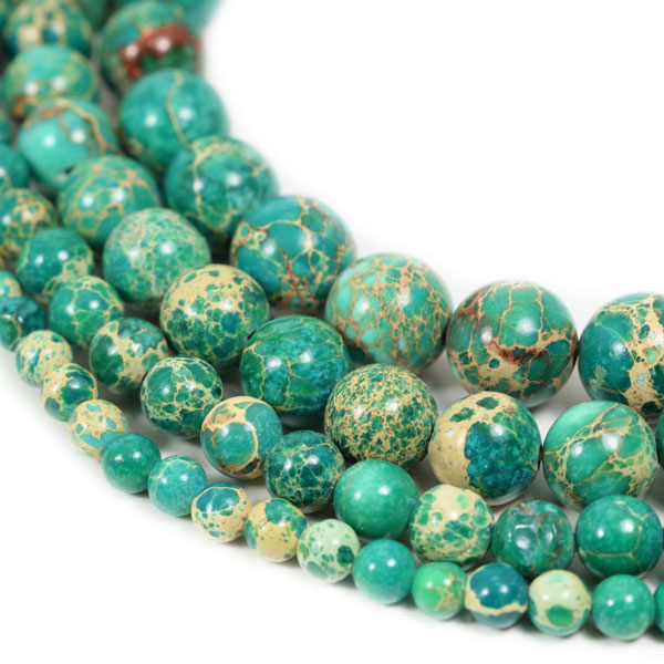 green Impression Jasper Beads 4m 6mm 8mm 10mm 12mm Round green Imperial Impression Stone, 15 Inch