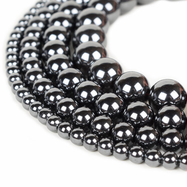 Hematite Beads 4mm 6mm 8mm 10mm 12mm Loose Gemstone Round 15 Inch