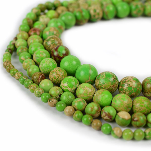 Lt green Impression Jasper Beads 4m 6mm 8mm 10mm 12mm Round lt green Imperial Impression Stone, 15 Inch