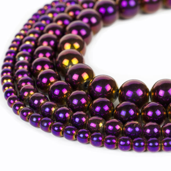 Purple Metallic Hematite Beads 4mm 6mm 8mm 10mm 12mm Loose Gemstone Round 15 Inch