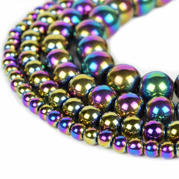 Rainbow Hematite Beads 4mm 6mm 8mm 10mm 12mm Loose Gemstone Round 15 Inch