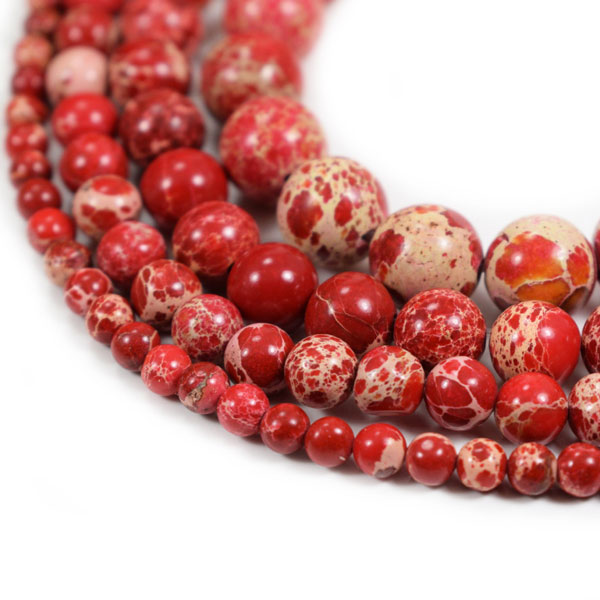 Red Impression Jasper Beads 4m 6mm 8mm 10mm 12mm Round red Imperial Impression Stone, 15 Inch