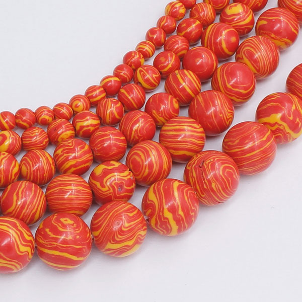 Synthetic Malachite Smooth Round Beads orange15 inch
