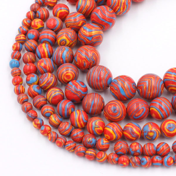 Synthetic Malachite Smooth Round Beads red rainbow15 inch