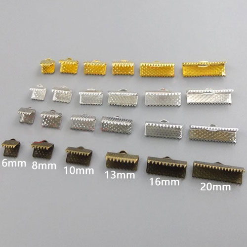 50Pcs Ribbon Crimp, ribbon end, Ends & Cord Clamps, more size and colors