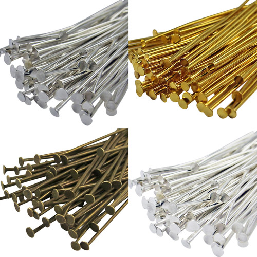100Pcs Eyepin Metal Flat Head pin Needles Findings for Jewelry Craft Findings