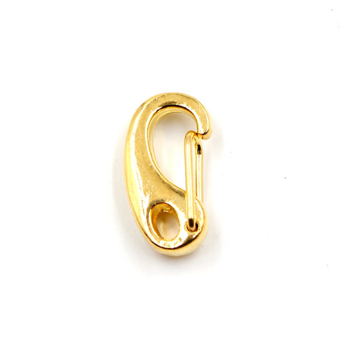 10pcs spring snap hook gate clip with lobster claw clasp, gold plated copper, 11x21mm, hole:3.5x5mm