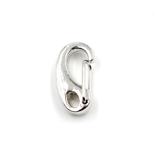 10pcs spring snap hook gate clip with lobster claw clasp, silver plated copper, 11x21mm, hole:3.5x5mm