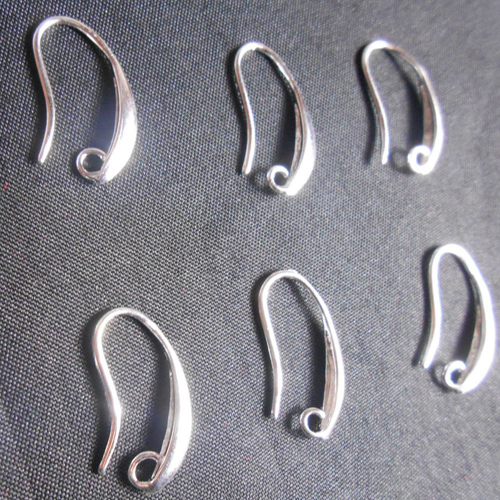 20Pcs Earwire, silver-plated brass, 20mm, Silver Smooth Pinch Crystal Earring Hook Wire