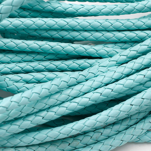 2 Meters 7mm Round Braided Bolo Synthetic Leather Jewelry Cord String, aqua