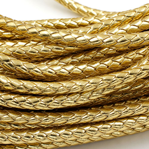 2 Meters 7mm Round Braided Bolo Synthetic Leather Jewelry Cord String, gold