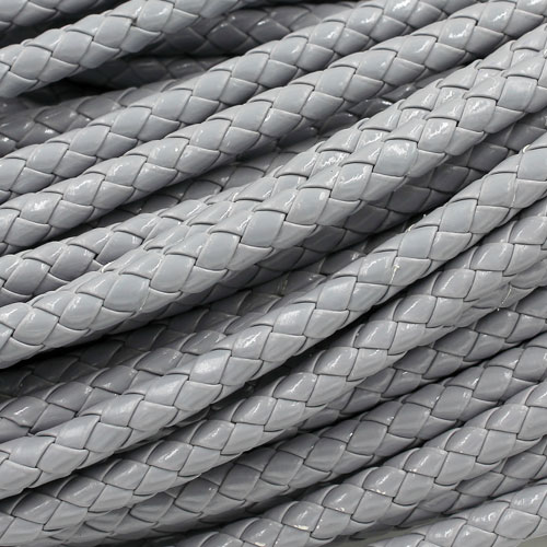 2 Meters 7mm Round Braided Bolo Synthetic Leather Jewelry Cord String, gray