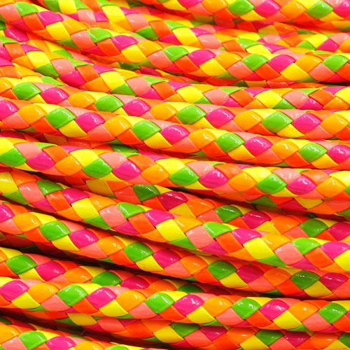 2 Meters 7mm Round Braided Bolo Synthetic Leather Jewelry Cord String, mix