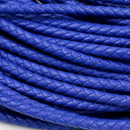 2 Meters 7mm Round Braided Bolo Synthetic Leather Jewelry Cord String, navy blue
