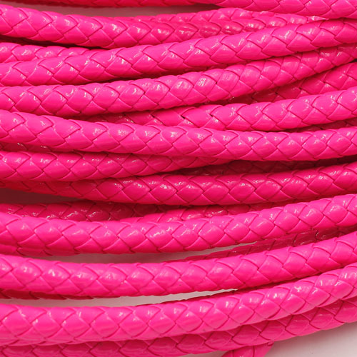 2 Meters 7mm Round Braided Bolo Synthetic Leather Jewelry Cord String, neon fuchsia