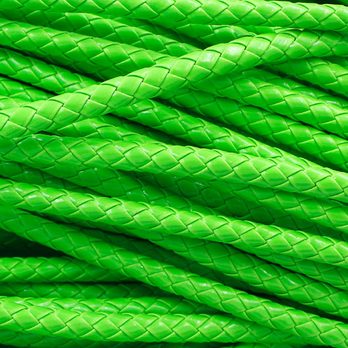 2 Meters 7mm Round Braided Bolo Synthetic Leather Jewelry Cord String, neon green