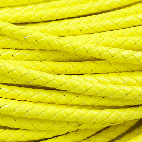 2 Meters 7mm Round Braided Bolo Synthetic Leather Jewelry Cord String, neon yellow