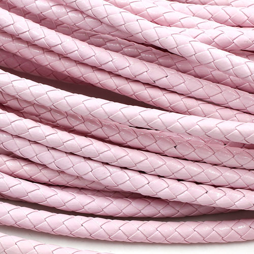 2 Meters 7mm Round Braided Bolo Synthetic Leather Jewelry Cord String, pink
