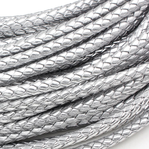 2 Meters 7mm Round Braided Bolo Synthetic Leather Jewelry Cord String, silver