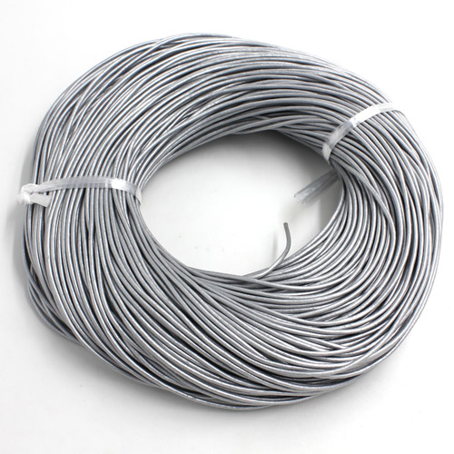 Round Leather Cord, silver, (1mm, 1.5mm, 2mm)(Sold by the Meter)