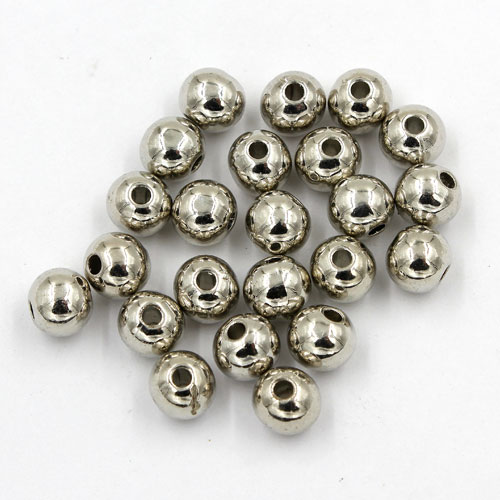 100Pcs 8mm CCB acrylic round spacer beads, dark silver, hole:1.5mm