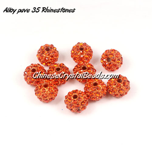 Alloy pave 35 Rhinestones disco 10mm beads , orange, Pave beads, 10 pcs
