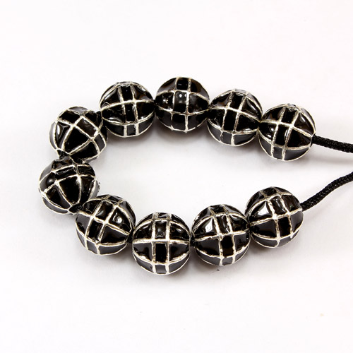 1Pcs Heavy metal spacer beads, 10mm, 2mm hole, round oil dripping earth silver black