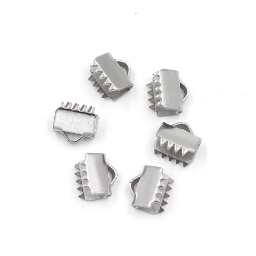 10Pcs stainless steel Ribbon Crimp, ribbon end, Ends & Cord Clamps, 6mm width