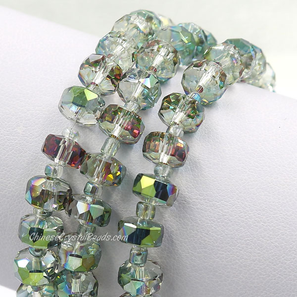 20Pcs green and purple light 5x8mm angular crystal beads