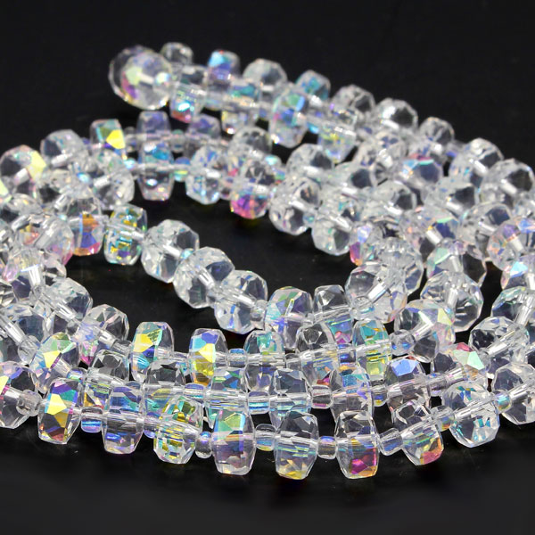 20Pcs half Clear AB 5x8mm angular crystal beads