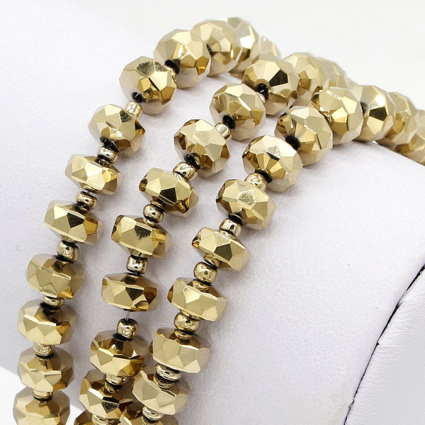 20Pcs lt gold 5x8mm angular crystal beads
