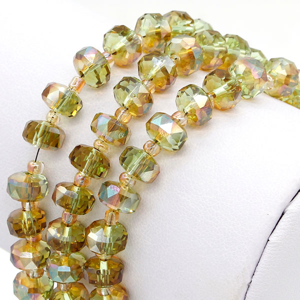 20Pcs olive green light 5x8mm angular crystal beads