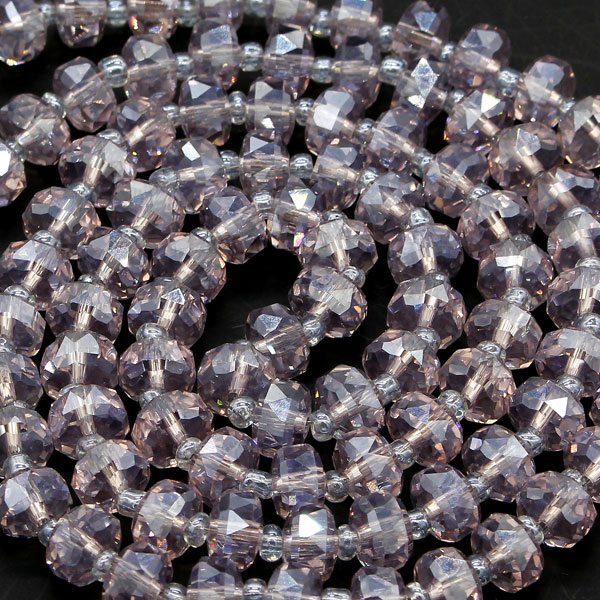 20Pcs pink purple light 5x8mm angular crystal beads