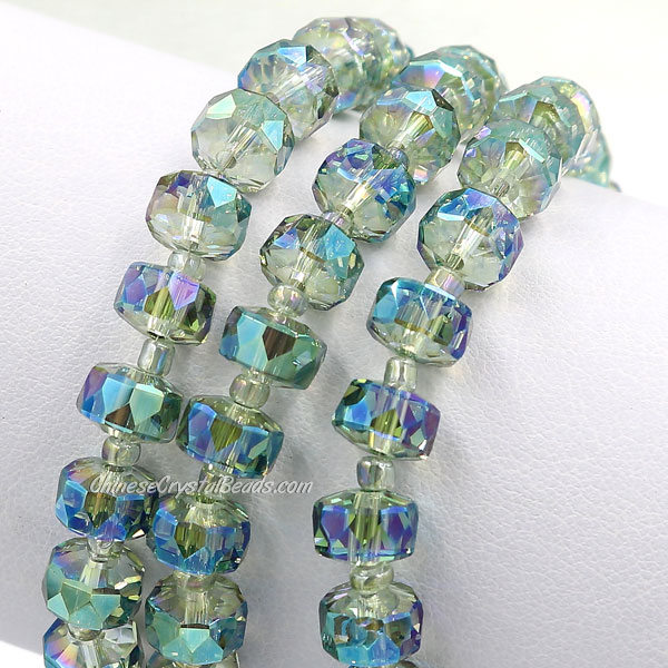 20Pcs transparent green light 5x8mm angular crystal beads