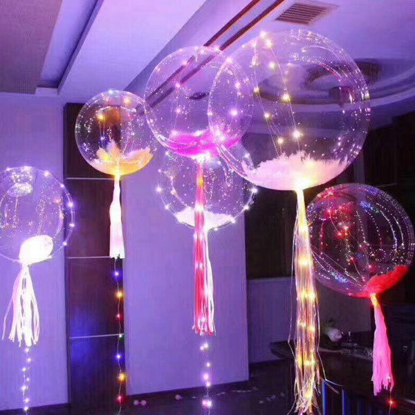 5PCS Bubble Balloon Led Balloon Luminous Transparent Round Bubble Decoration Holiday Party Wedding Christmas