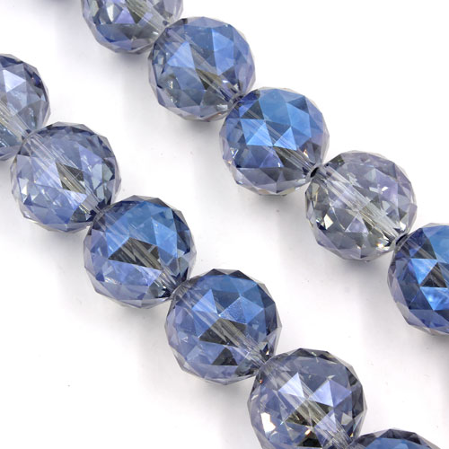 Crystal faceted ball pendant, 20mm, Magic Blue., 1 bead
