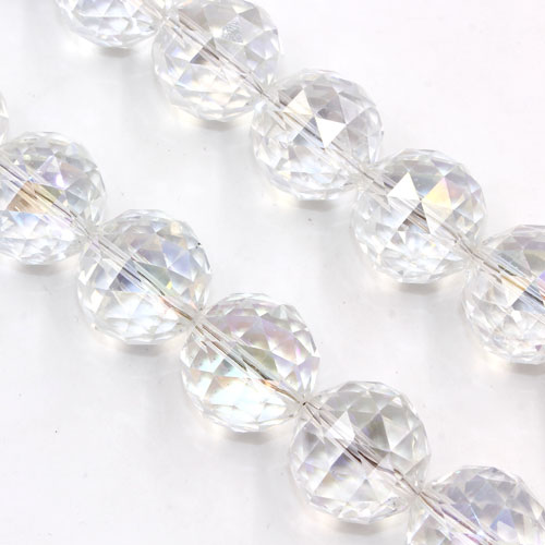 Crystal faceted ball pendant, 20mm, clear AB, 1 piece