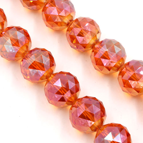 Crystal faceted ball pendant, 20mm, orange light, 1 bead