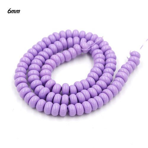 100Pcs 6x3.5mm Smooth Roundel Shape Glass Beads, rondelle glass beads strand, hole 1mm, Plum