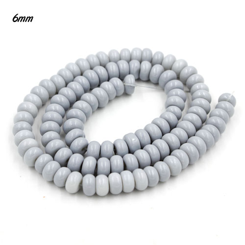 100Pcs 6x3.5mm Smooth Roundel Shape Glass Beads, rondelle glass beads strand, hole 1mm, gray
