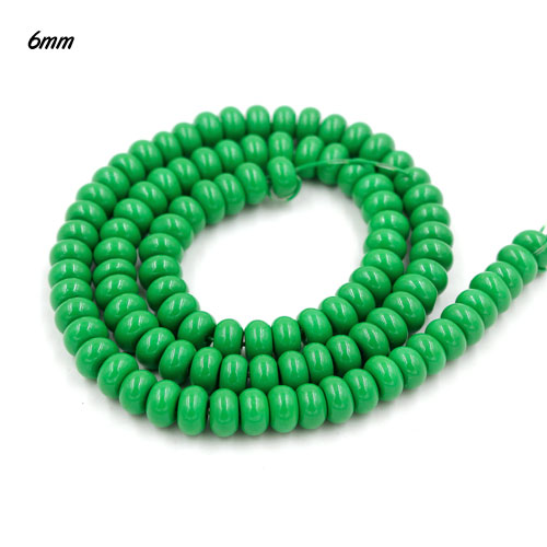 100Pcs 6x3.5mm Smooth Roundel Shape Glass Beads, rondelle glass beads strand, hole 1mm, green