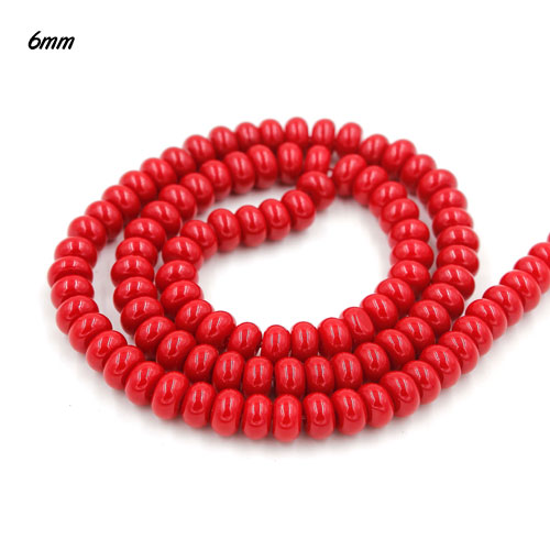 100Pcs 6x3.5mm Smooth Roundel Shape Glass Beads, rondelle glass beads strand, hole 1mm, red