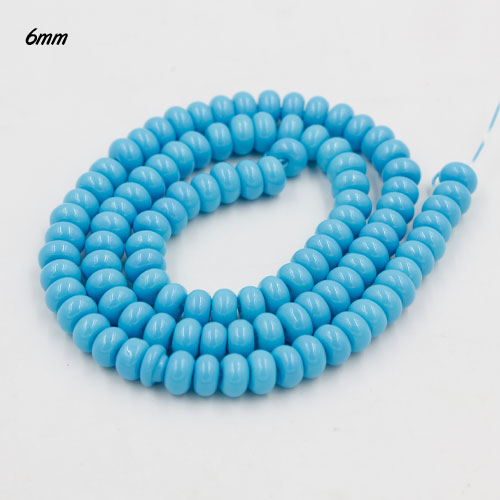 100Pcs 6x3.5mm Smooth Roundel Shape Glass Beads, rondelle glass beads strand, hole 1mm, skyblue